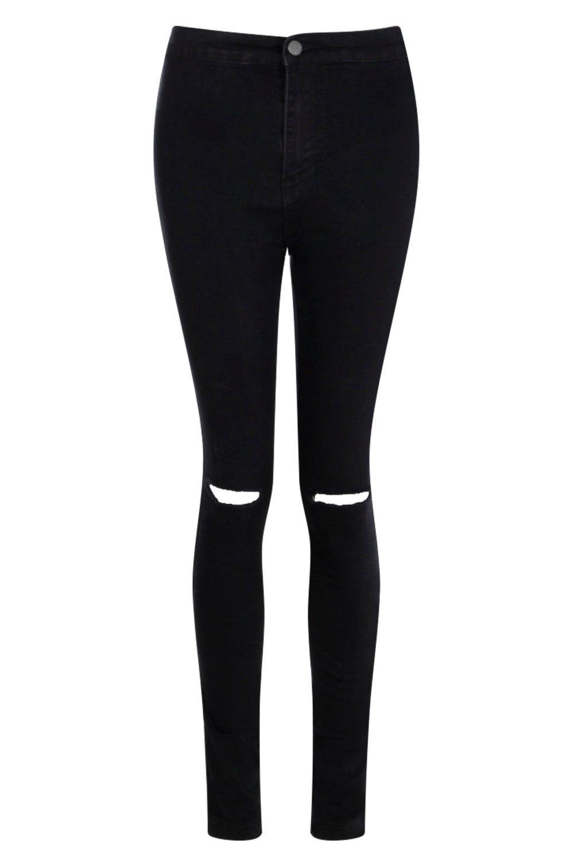 y alto talle con negro skinny disco Jeans rodillas rasgadas UEqXItXx