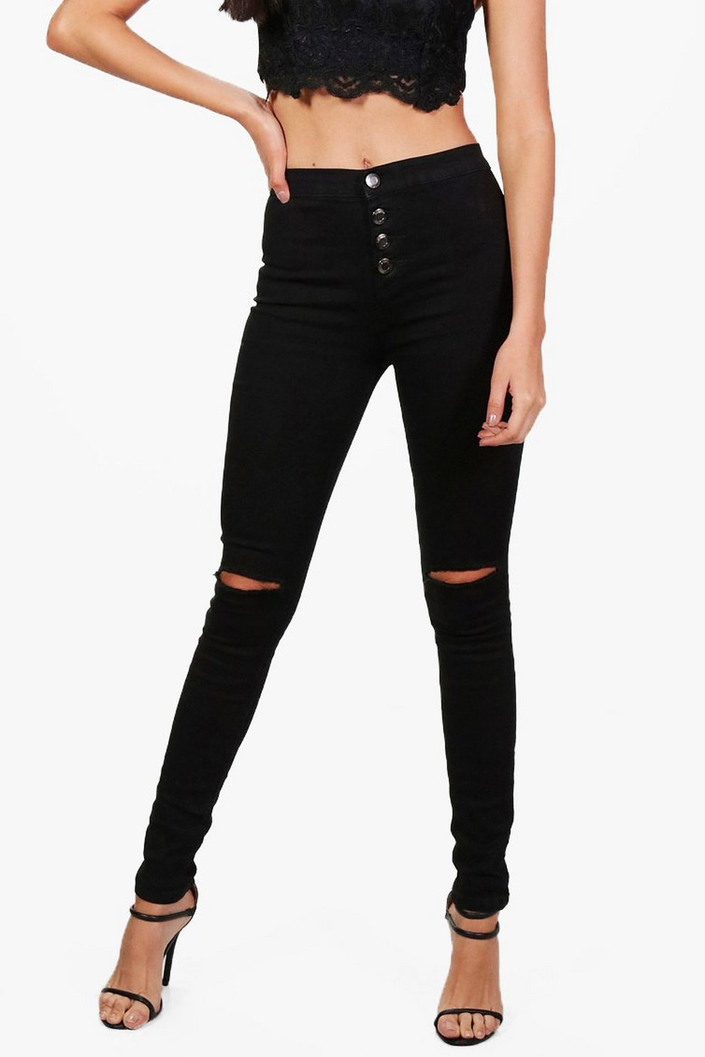 685bd6e087d1f High Waisted Button Fly Skinny Jeans
