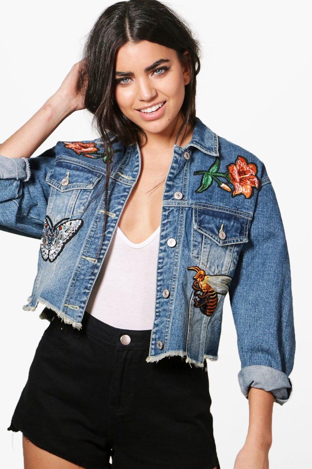 Emily Embroidered Patch Denim Jacket | Boohoo