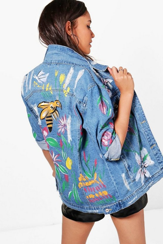 Lucy Hand Painted Longline Denim Jacket