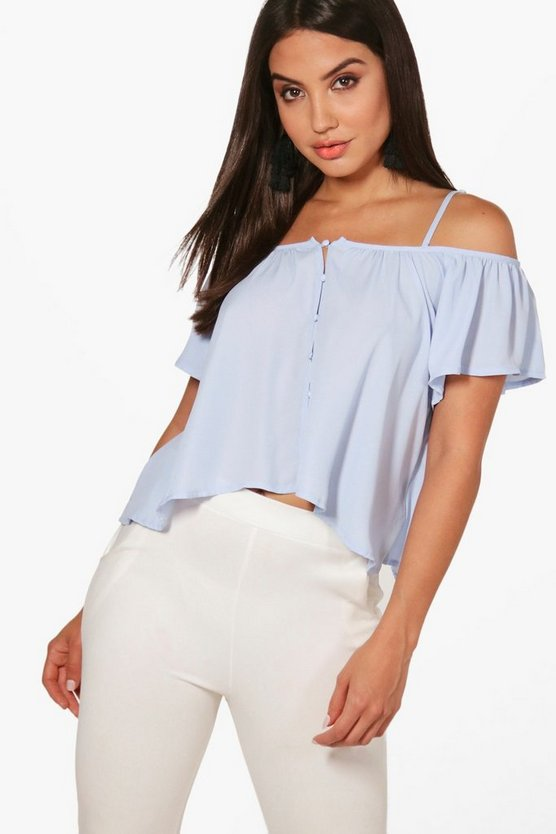 Scarlett Woven Cold Shoulder Button Front Top, Женские