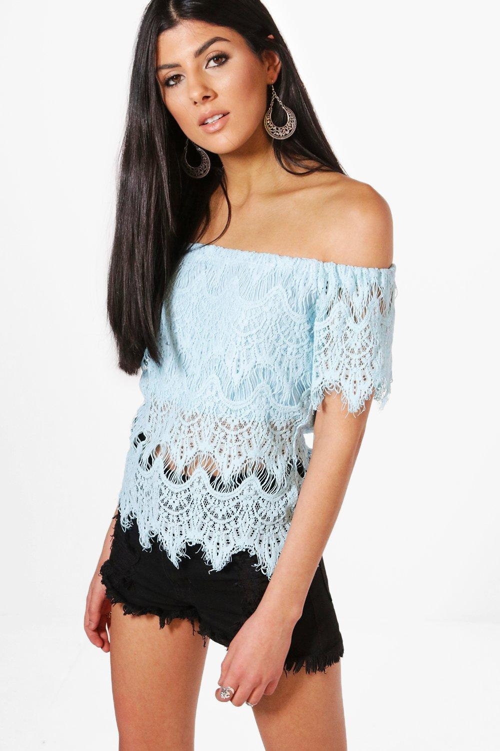 39e9a16634f68 Sarah Eyelash Lace Off The Shoulder Top. Hover to zoom