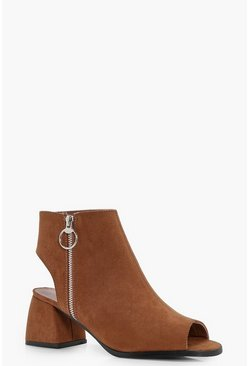 Womens Tan Ring Detail Peeptoe Shoe Boots