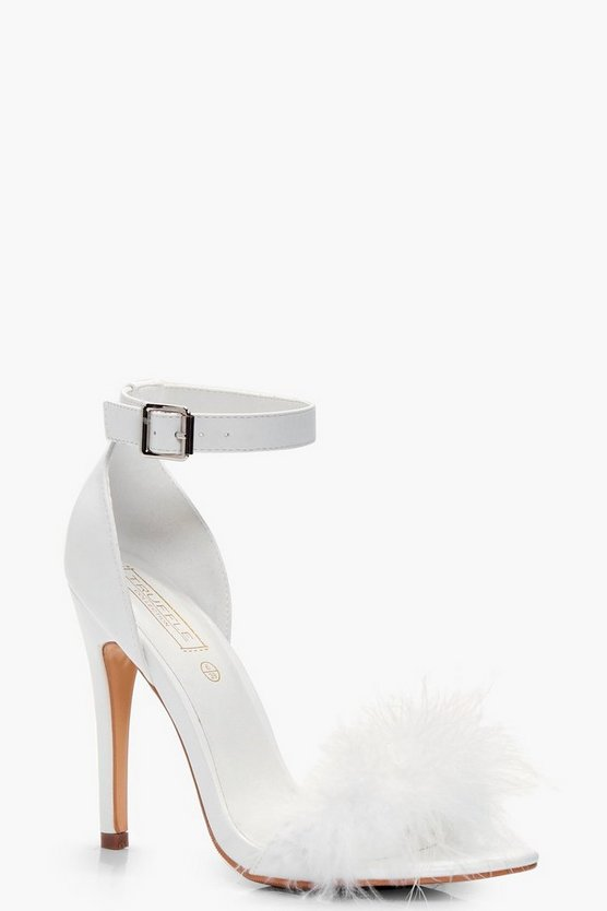 Feather Trim Two Part Heels