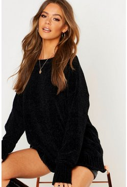 Womens Black Chenille Sweater