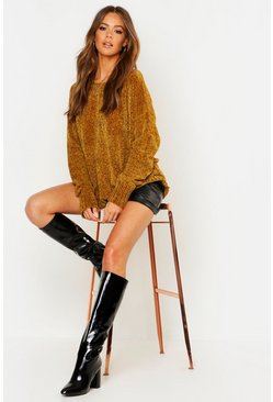 Womens Mustard Chenille Sweater