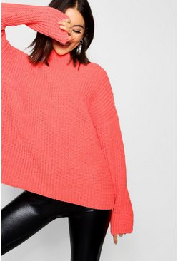 Womens Burnt orange Chenille Knit Funnel Neck Jumper