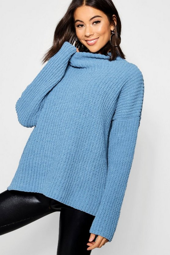 Chenille Knit Funnel Neck Jumper