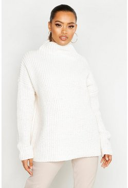 Womens Ivory Chenille Knit Funnel Neck Jumper