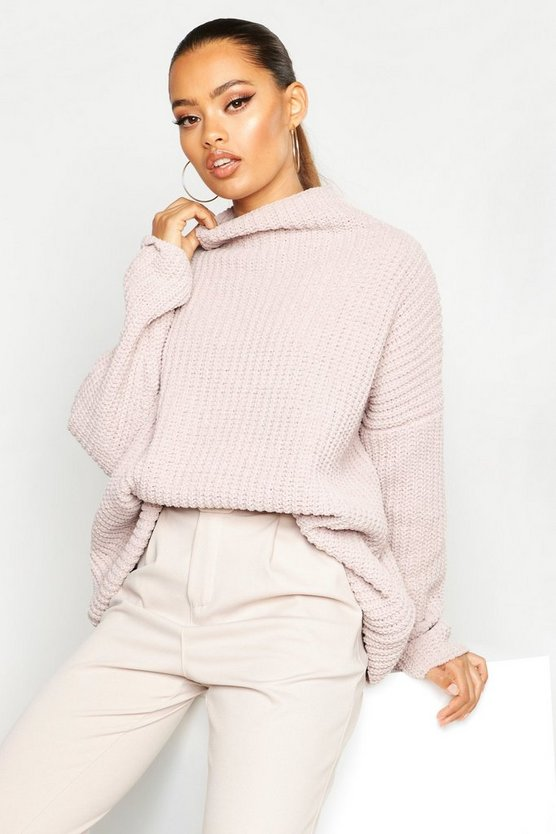 Mink Chenille Knit Funnel Neck Jumper