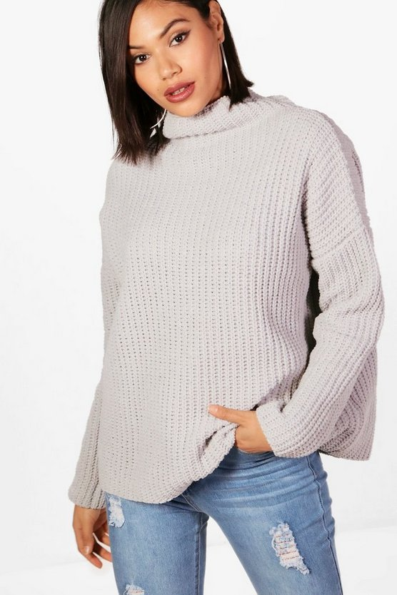 Silver Chenille Knit Funnel Neck Sweater