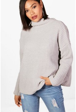 Womens Silver Chenille Knit Funnel Neck Jumper