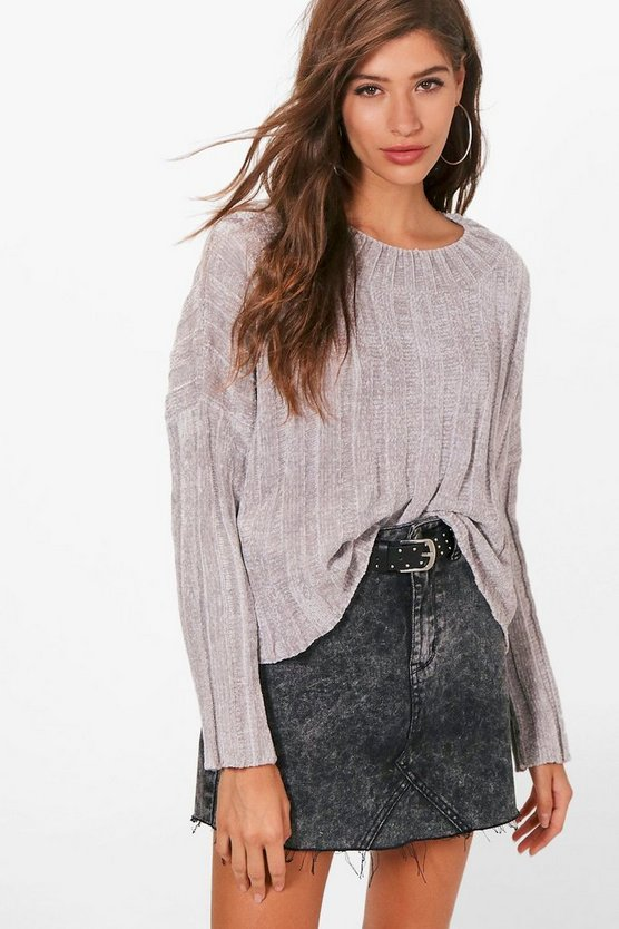 Womens Silver Crop Rib Chenille Sweater
