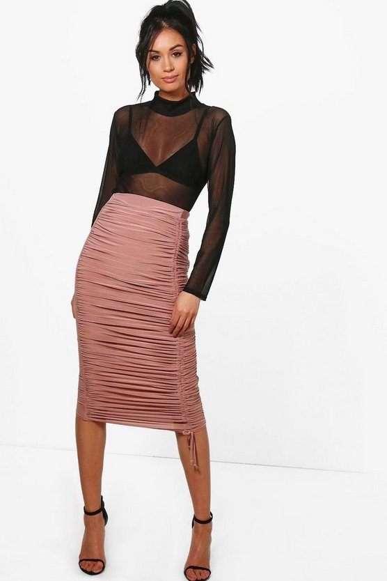Brooke Rouched Front Slinky Midi Skirt