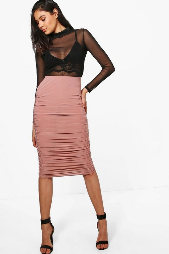 Nolita Rouched Side Slinky Midi Skirt