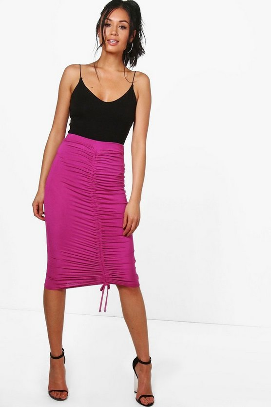 Womens Ohio Rouched Front Jersey Midi Skirt