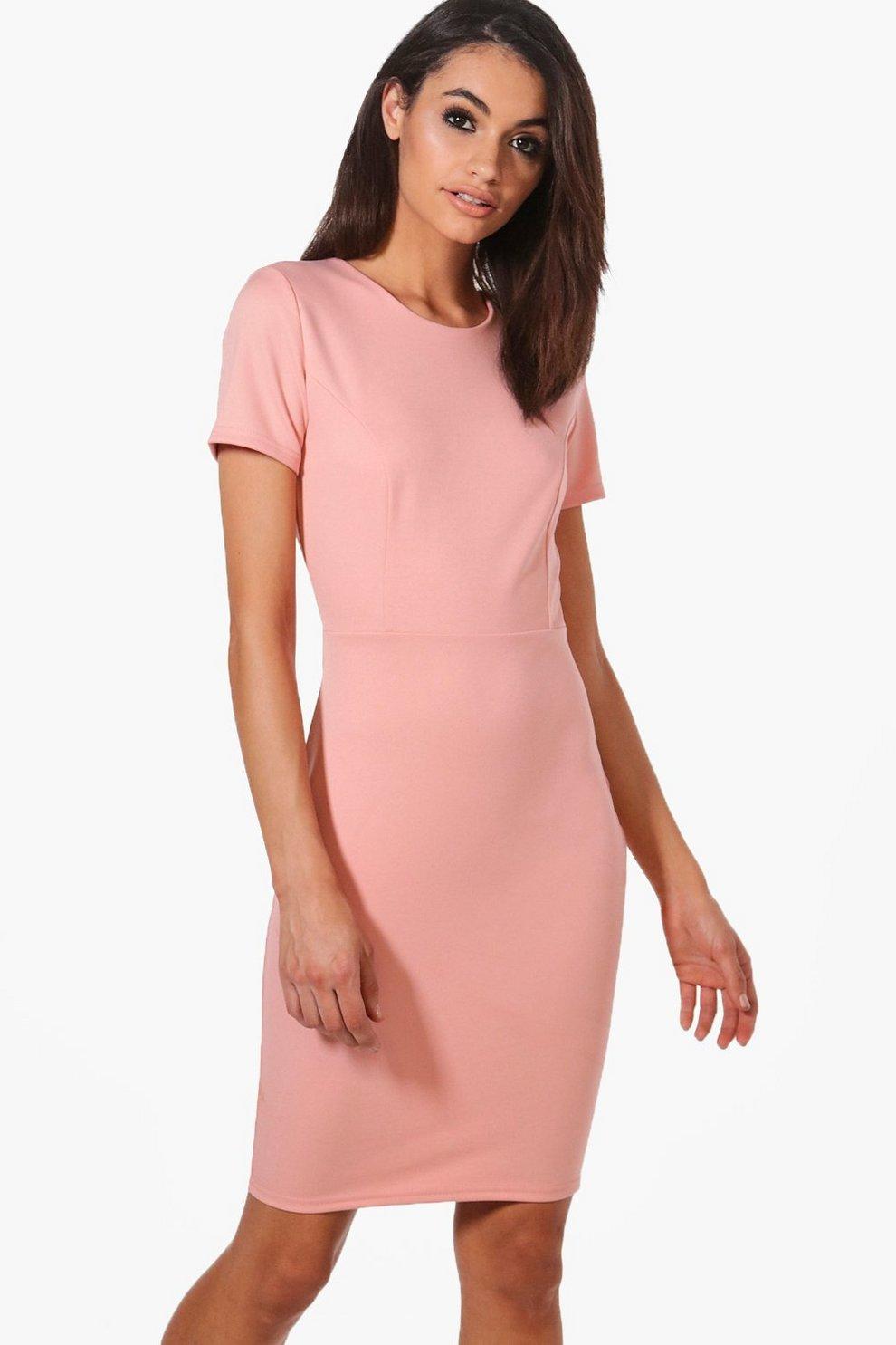 Molly Elegant Geschnittenes Tailliertes Kleid Aus Neoprenstoff Boohoo