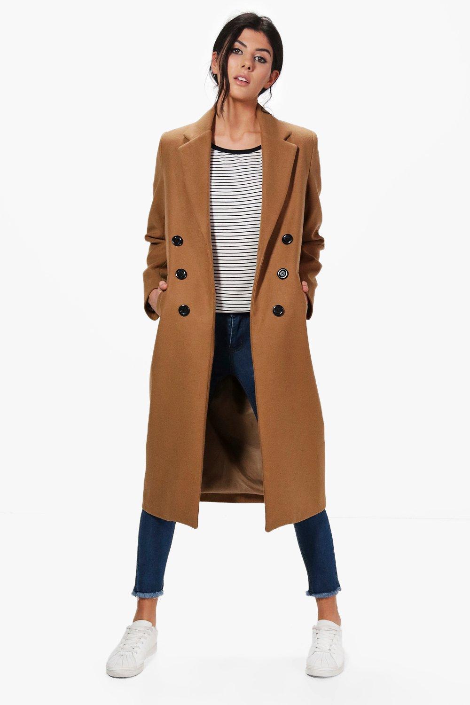 les dernières nouveautés quantité limitée variété de dessins et de couleurs natalia manteau long à double boutonnage | Boohoo