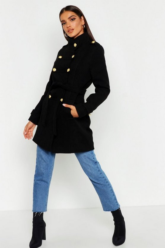 Military Wool Look Coat