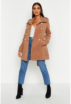 Womens Camel Military Wool Look Coat
