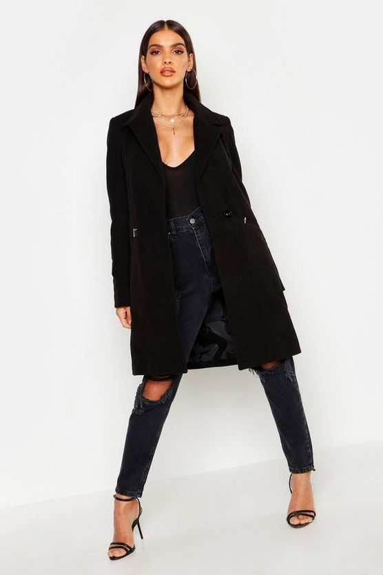Womens Black Zip Pocket Tailored Coat