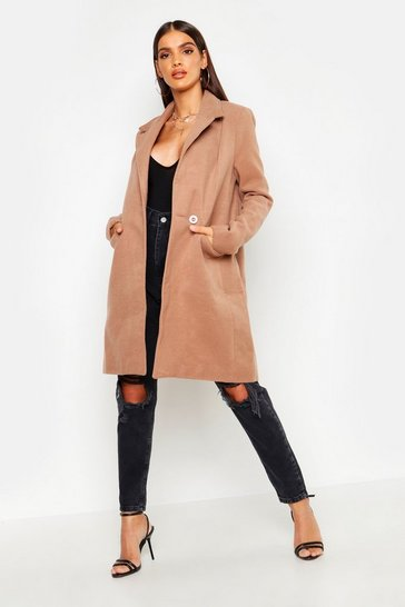 Camel Zip Pocket Tailored Coat