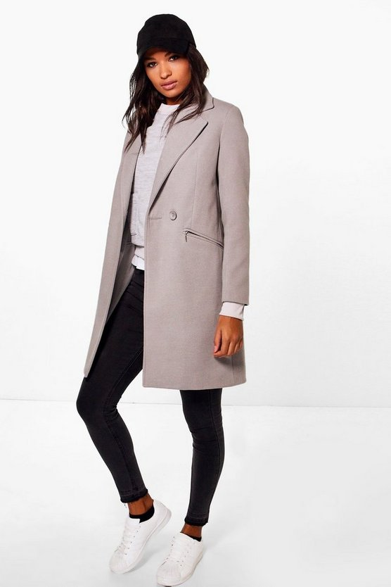 Womens Grey Zip Pocket Tailored Coat