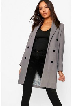 Womens Grey Double Breasted Coat