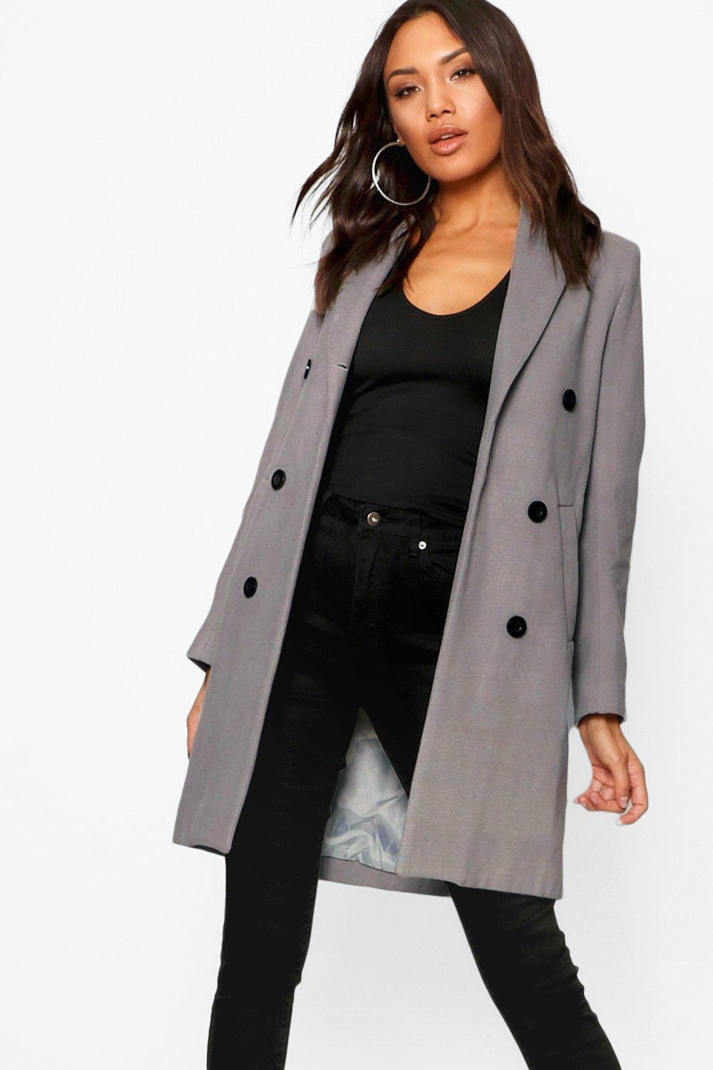 e2e80dfa67d Womens Grey Double Breasted Coat. Hover to zoom