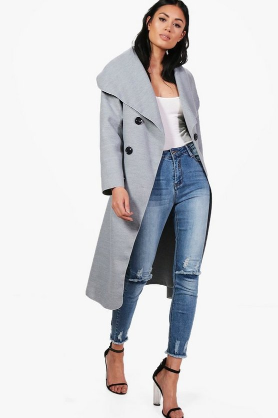 Womens Grey Jessica Double Breasted Wool Look Coat