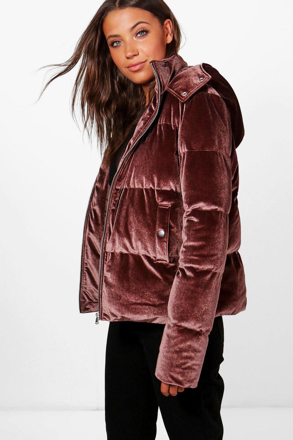 Boutique Velvet Padded Jacket Boohoo