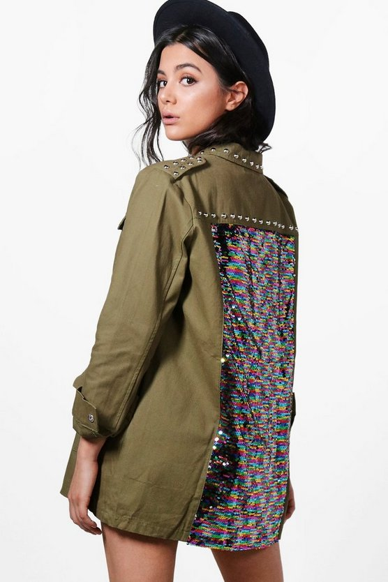 Jemma Sequin Back Utility Jacket