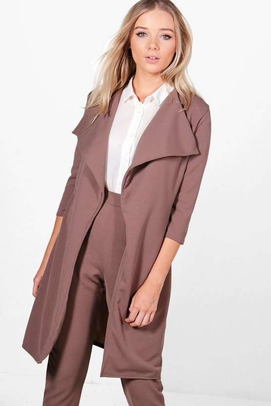 Womens Mocha Emily Waterfall Duster