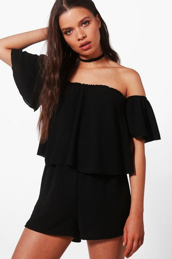 Off shoulder Ruffle Sleeve Playsuit