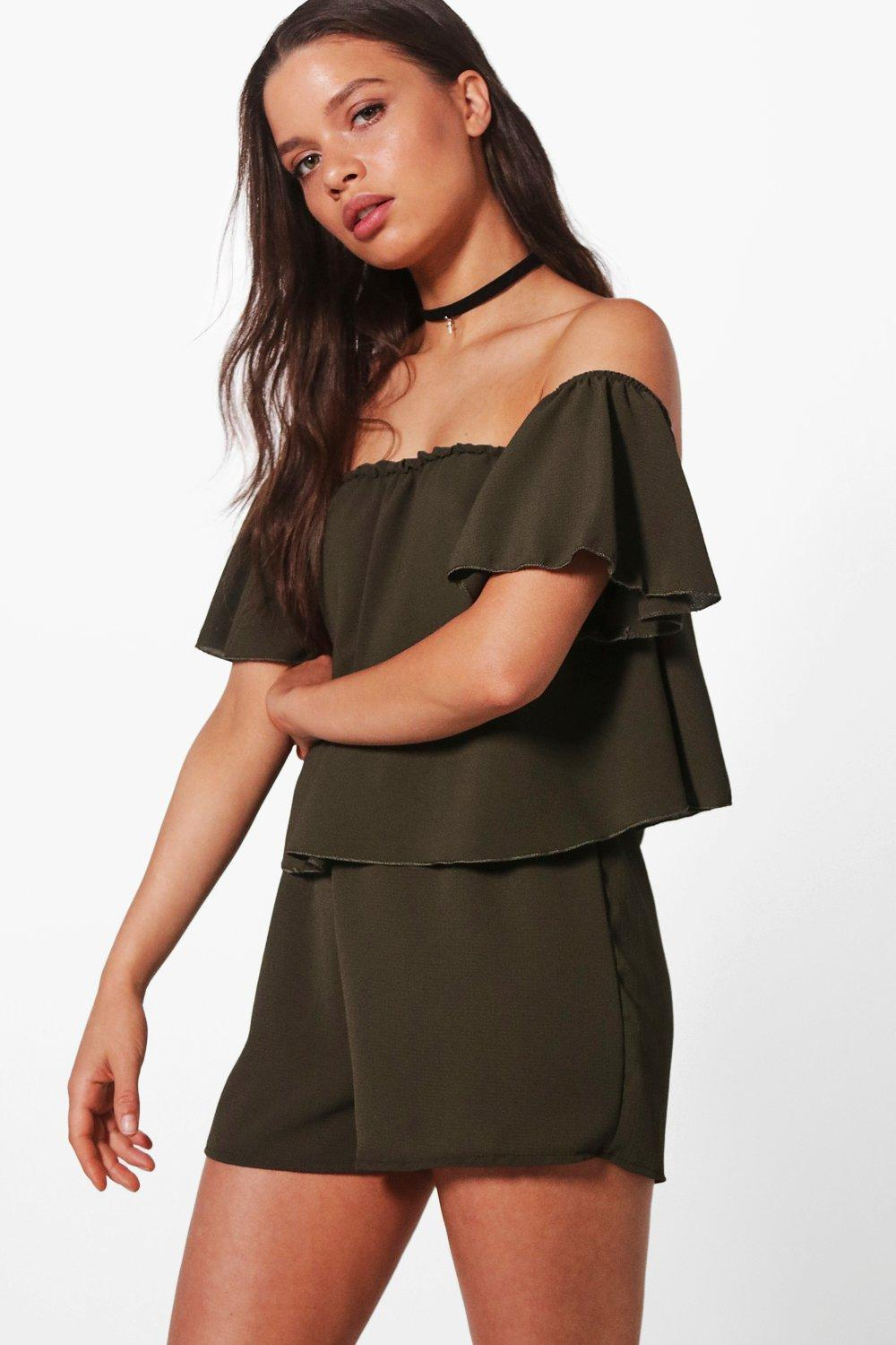 d1f6d91d66 Off shoulder Ruffle Sleeve Playsuit. Hover to zoom