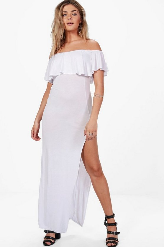 Lucy Frill Detail Off The Shoulder Maxi Dress