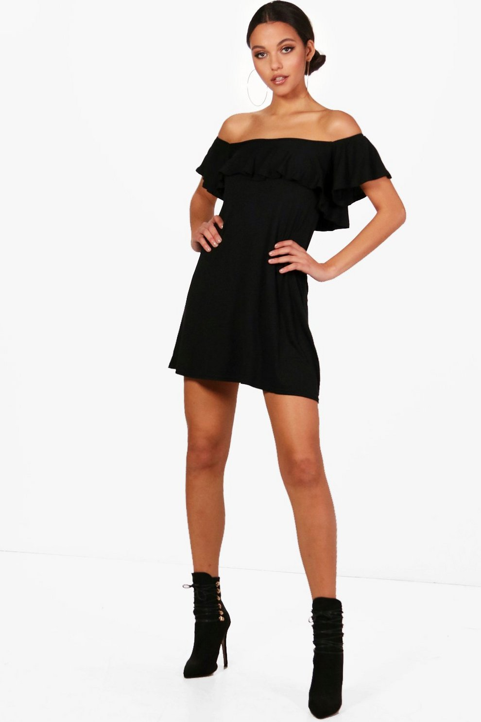25dfe2bfc75e Frill Detail Off The Shoulder Swing Dress | Boohoo
