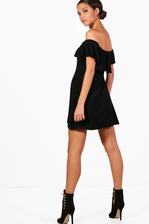 boohoo damen louise schulterfreies ausgestelltes kleid mit volant ebay. Black Bedroom Furniture Sets. Home Design Ideas