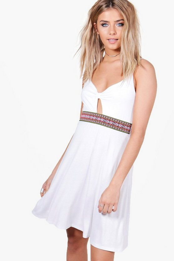 Aztec Trim Strappy Skater Dress