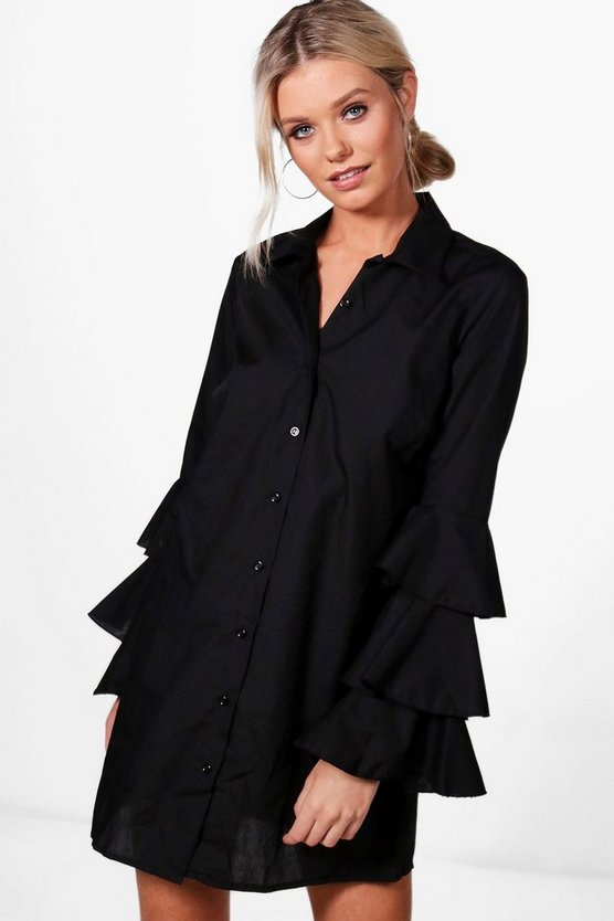 Ruffle Sleeve Shirt Dress