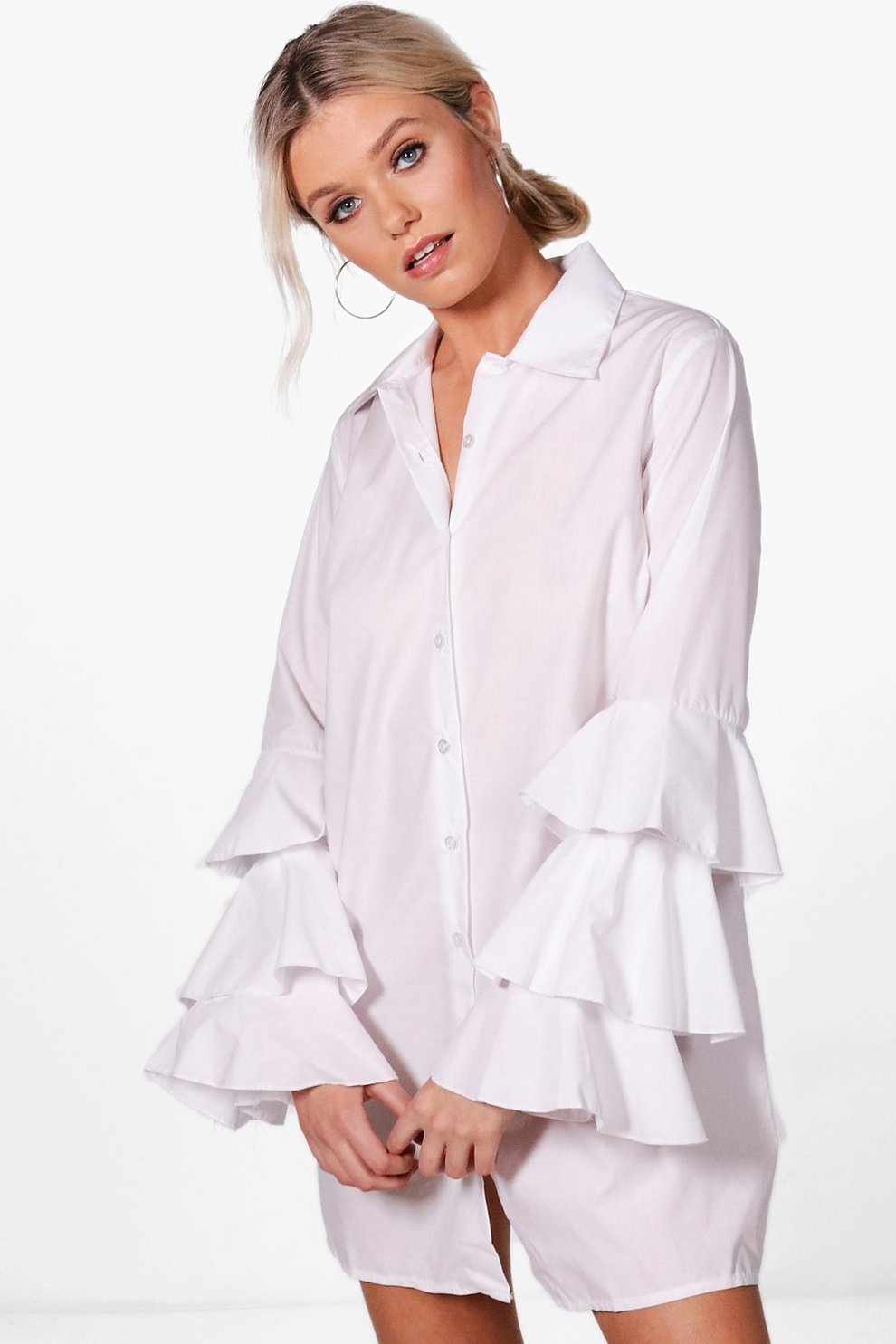 99684b6b4f0 Ruffle Sleeve Shirt Dress