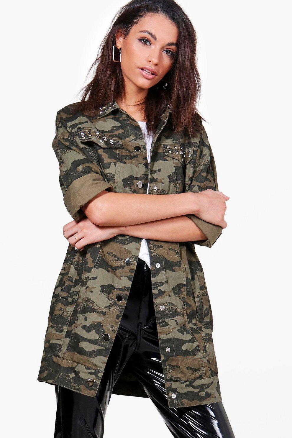 Veste jean camouflage femme