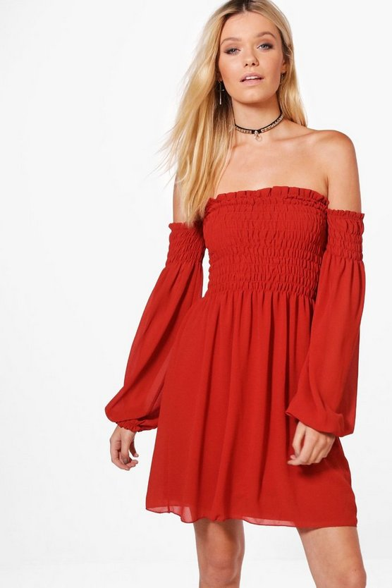 Natasha Woven Off The Shoulder Shift Dress