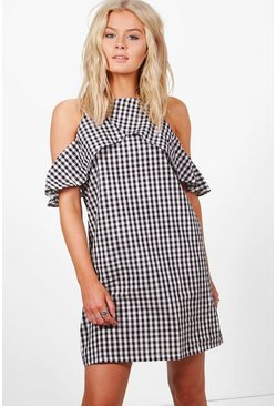 Womens Black Amelia Cold Shoulder Gingham Shift Dress