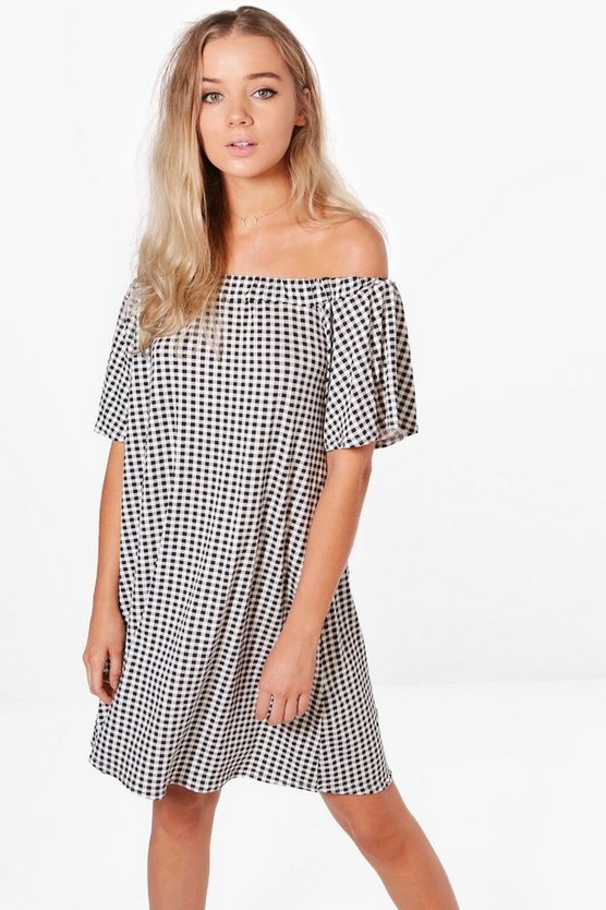 Lucie Off The Shoulder Gingham Mini Dress