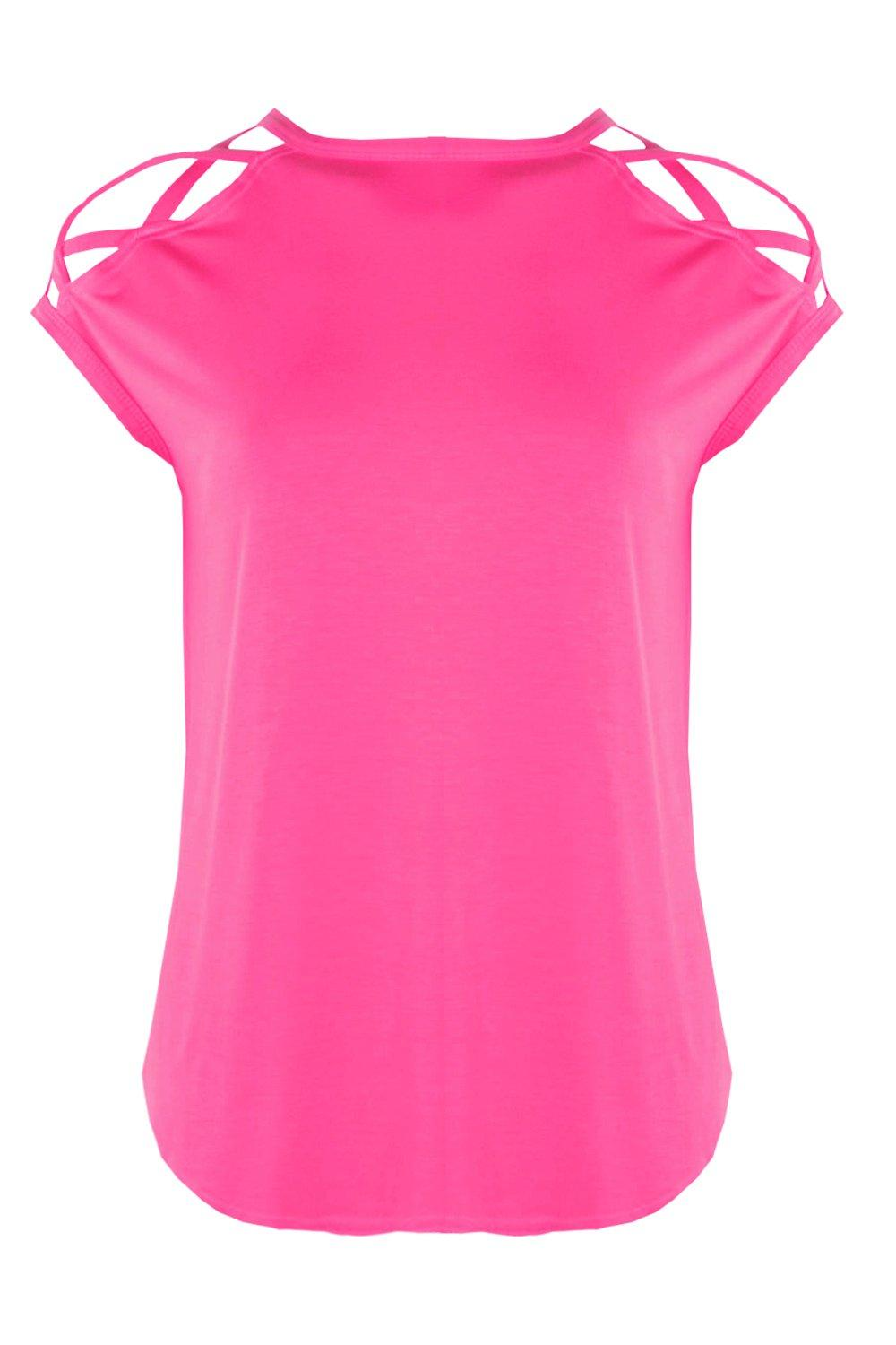 Shirt Strappy T cerise Shoulder Detail CC8twZq