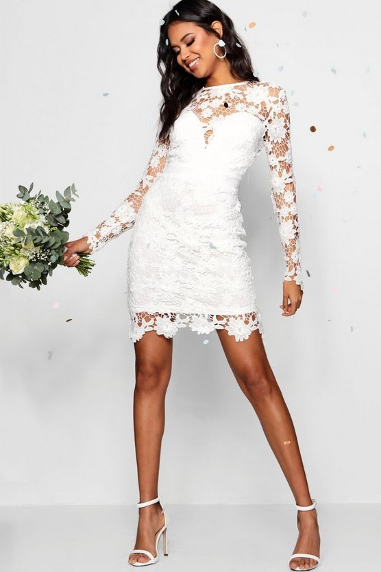 Womens Ivory Boutique Lace Tie Back Bodycon Dress