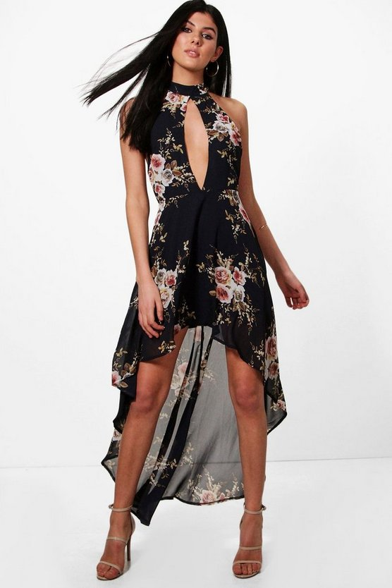Dark Floral Chiffon Halter Maxi Dress