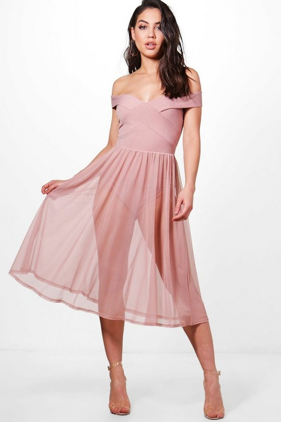 Darcy Mesh Skirt Midi Skater Dress