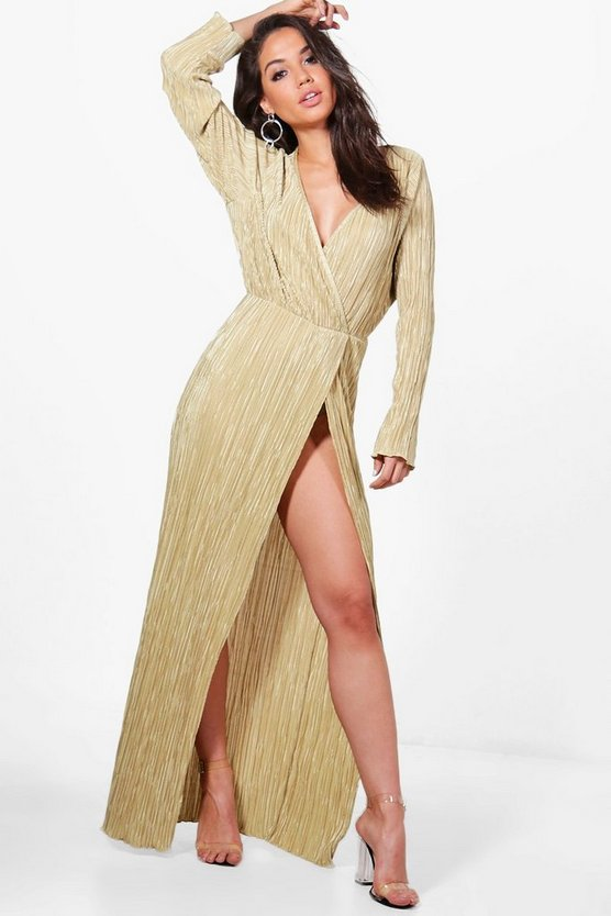 Womens Gold Vicky Pleated Long Sleeve Wrap Maxi Dress